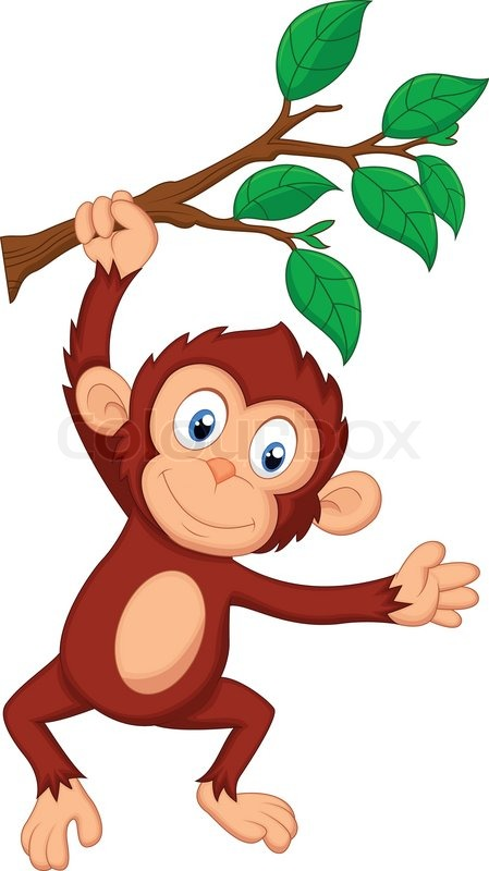Vector illustration of cute monkey cartoon hanging stock
