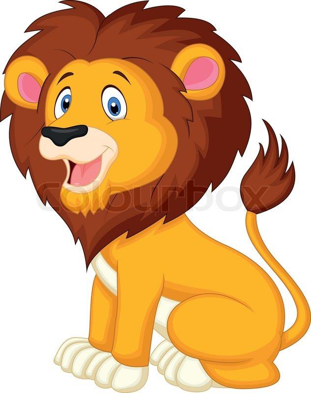 vector illustration of cute lion cartoon stock vector colourbox
