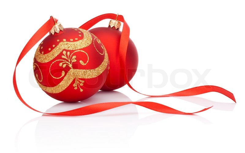 Green Christmas Bow Background Graphics: Two Red Christmas Decoration Balls With ...