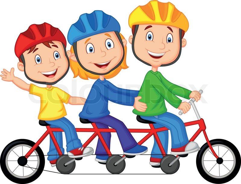 Vector illustration of Happy family cartoon riding triple ...