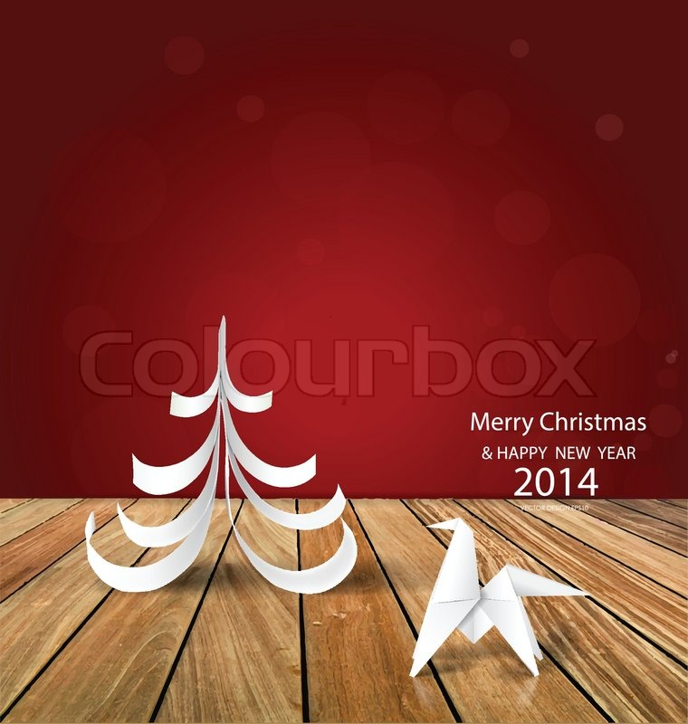 2014 happy new year greeting card origami paper horse and christmas 2014 happy new year greeting card origami paper horse and christmas tree design vector illustration stock vector colourbox m4hsunfo