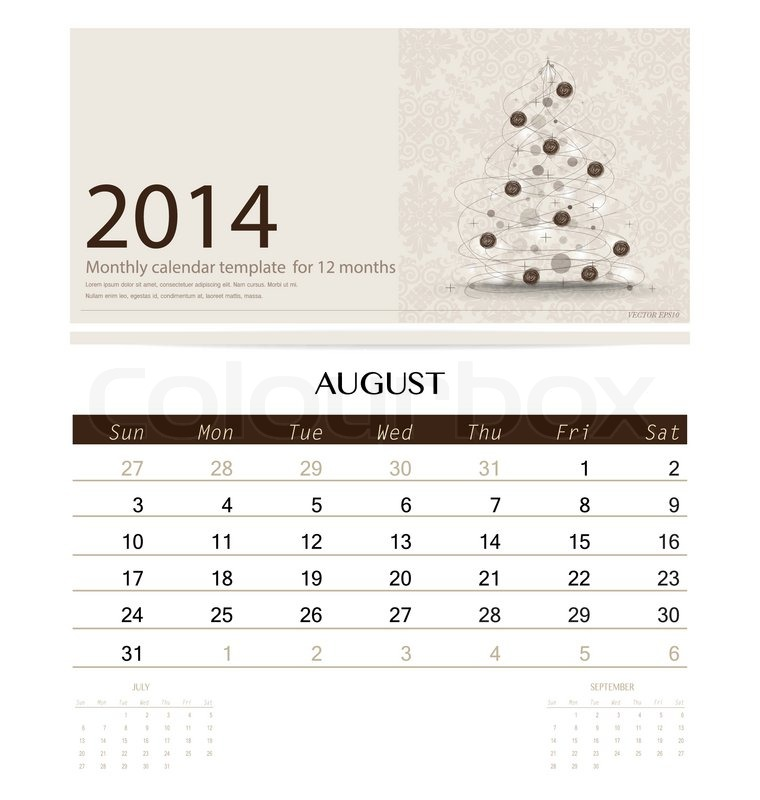2014 Calendar Monthly Calendar Template For August Christmas Tree