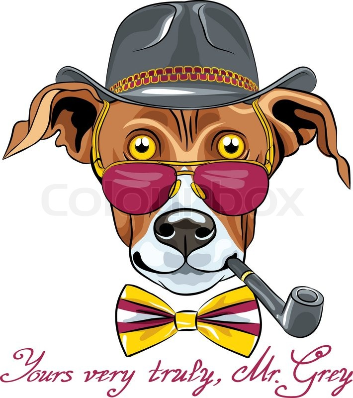 hipster greyhound dog in a hat glasses and bow tie with tobacco rh colourbox com famous cartoon dog with glasses cartoon dog with glasses and bow tie