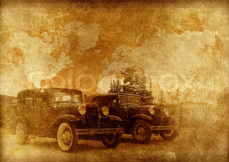 Classic Cars Background. Oldtimers World. Vintage Cars On