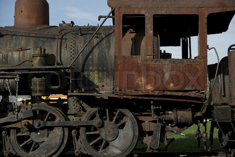 Rusty Steam Locomotive Abandoned Somewhere In America. Old