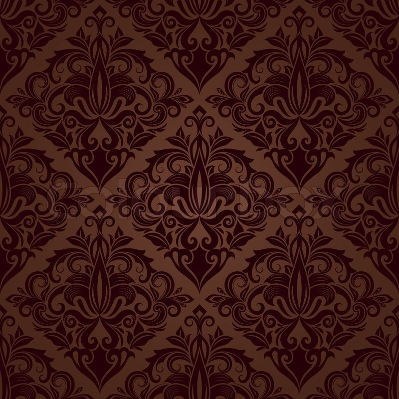 Seamless brown floral vector wallpaper pattern. | Stock ...