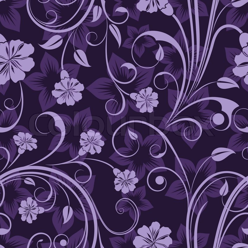 Seamless Floral Purple Flower Vector Wallpaper Pattern