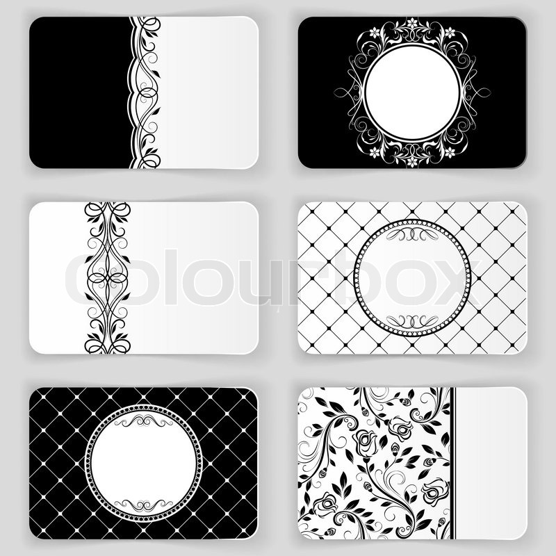 Black And White Vintage Business Cards Stock Vector Colourbox