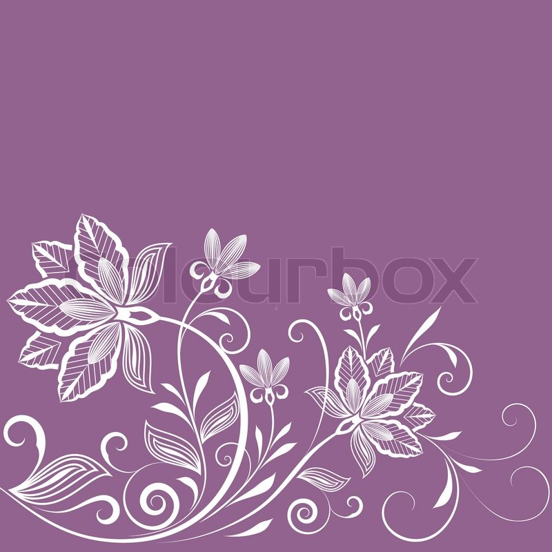Abstract Floral Vintage Purple Background With Copy Space