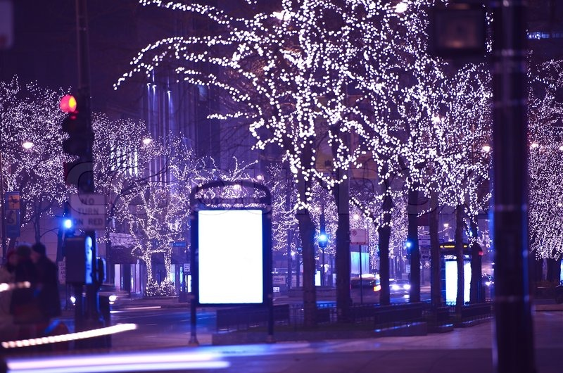 Holidays in Chicago. Christmas-Thanksgiving Michigan Ave Lights. Michigan Avenue, Chicago, USA. , stock photo