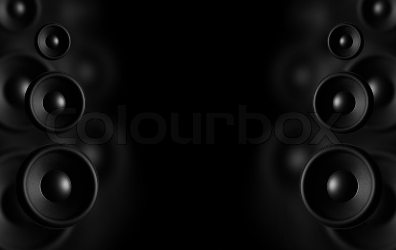 Large Speakers Black Background Dark Stock Photo Colourbox
