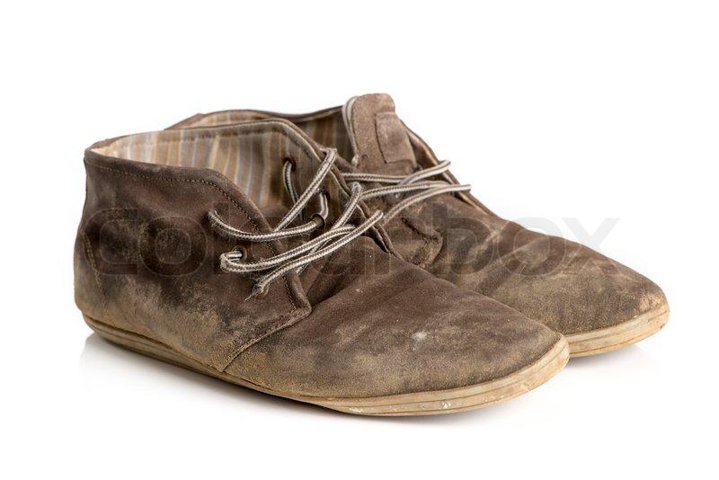 ein paar ausgelatschte braune boots stockfoto colourbox. Black Bedroom Furniture Sets. Home Design Ideas