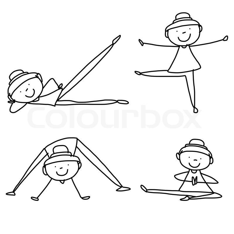 Cartoon Hand Drawing Woman Practicing Yoga Stock Vector