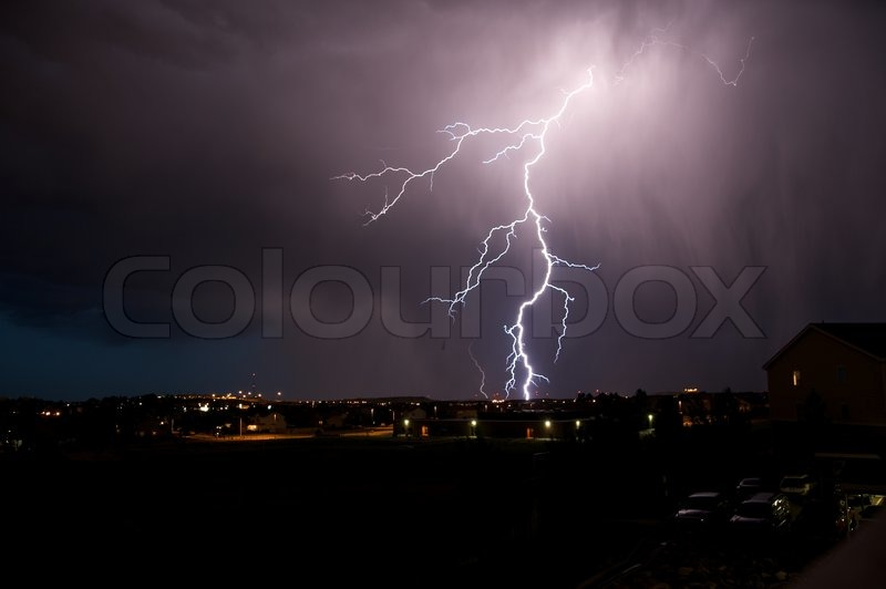 Lightning Strike. Severe Weather in Colorado. Night Thunderstorm, stock photo
