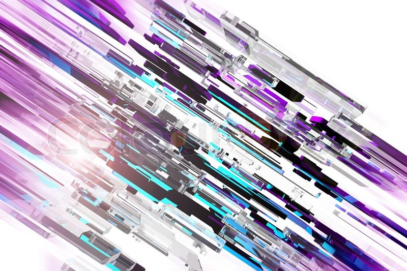 3D Glassy Colorful Blocks and Light Flare Cool Sharp Design Stock