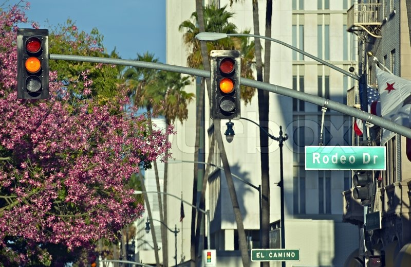 Rodeo Drive Street Sign and Traffic Lights. Beverly Hills, California, USA. California Photography Collection, stock photo