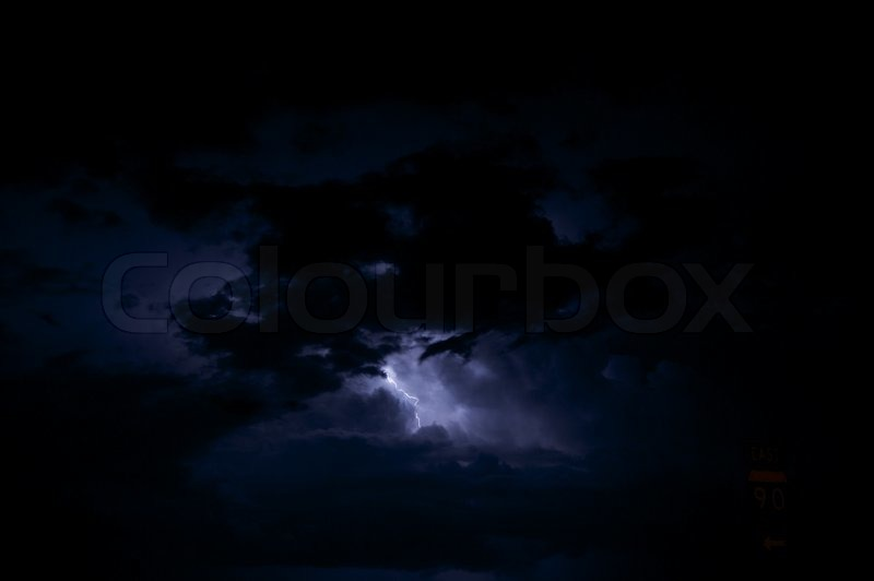 Night Storm - Lightning Storm. Dark Stormy Sky with Lightning Between Clouds. Sever Weather Photo Collection, stock photo