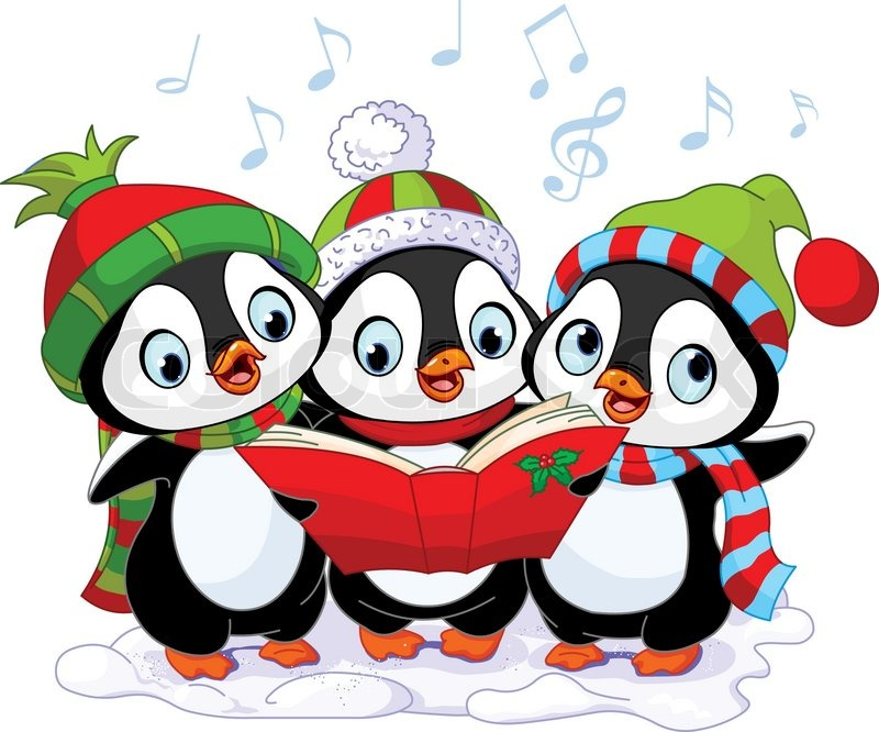 Three cute Christmas carolers penguins | Stock Vector ...
