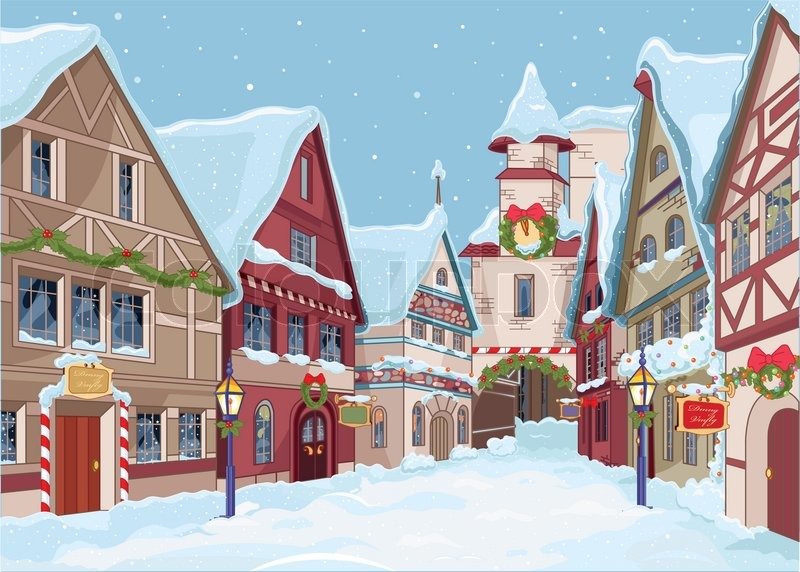 Christmas Town.Christmas Town Street At Winter Day Stock Vector Colourbox