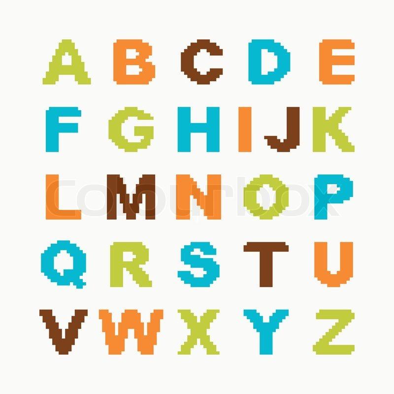 Pixel alphabet | Stock vector | Colourbox