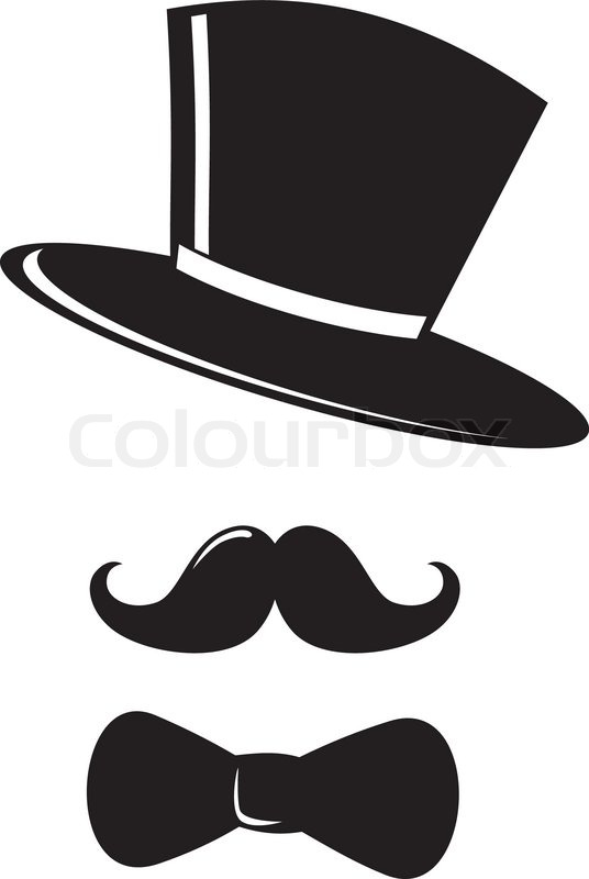 Retro Party Set Bow Tie Hat And Mustaches Stock