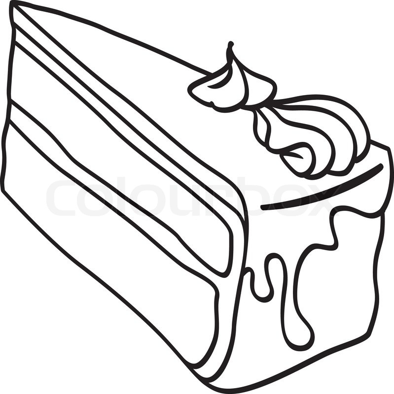 Clipart Cake Coloring : Free cake slice coloring pages