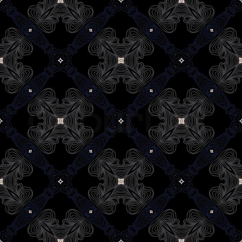 Dark Victorian Floor Cerimic Tiled Pattern Stock Vector