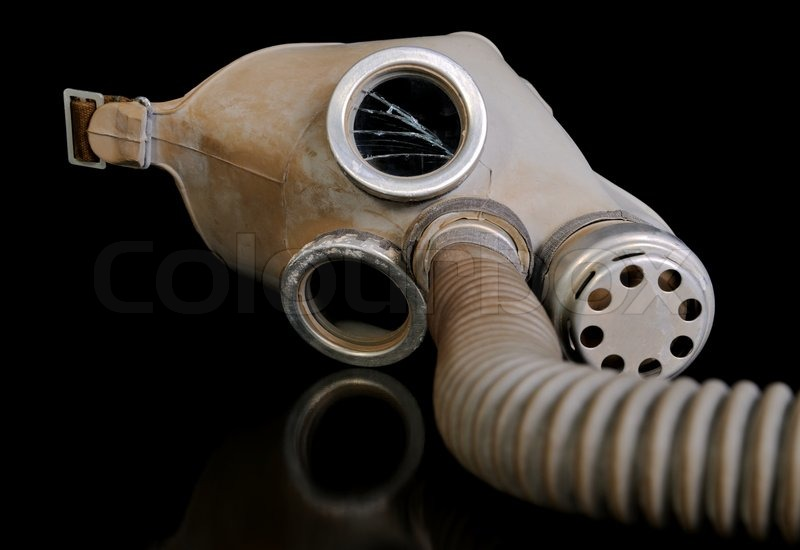 Old gas mask on a Black background    Stock image   Colourbox