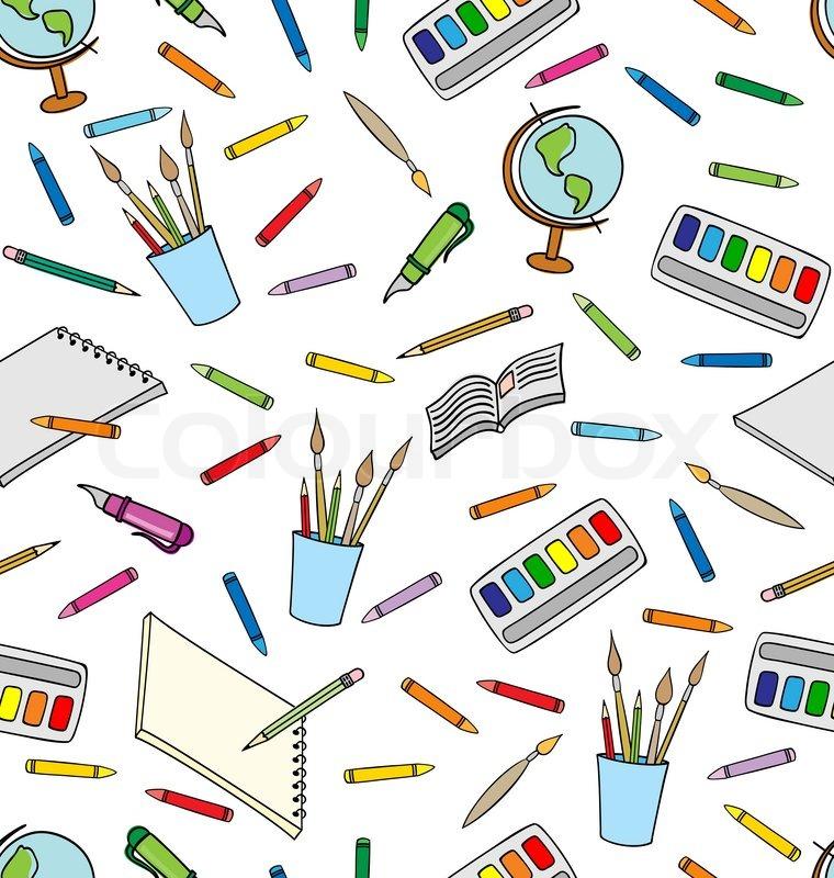 School Supplies Seamless Pattern | Stock Vector | Colourbox