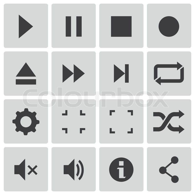 Player Icons Vector Vector Black Media Player