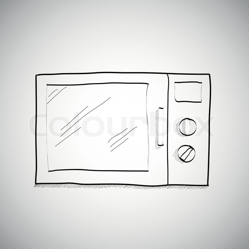 Simple Hand Drawing Of Microwave Vector
