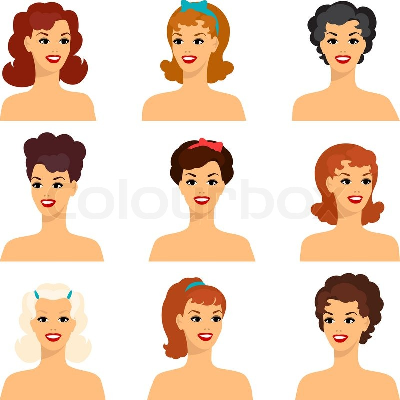 Collection Of Portraits Beautiful Pin Up Girls 1950s Style