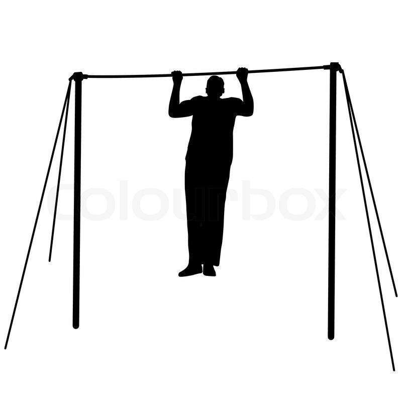 Silhouette of an athlete on the horizontal bar. Vector