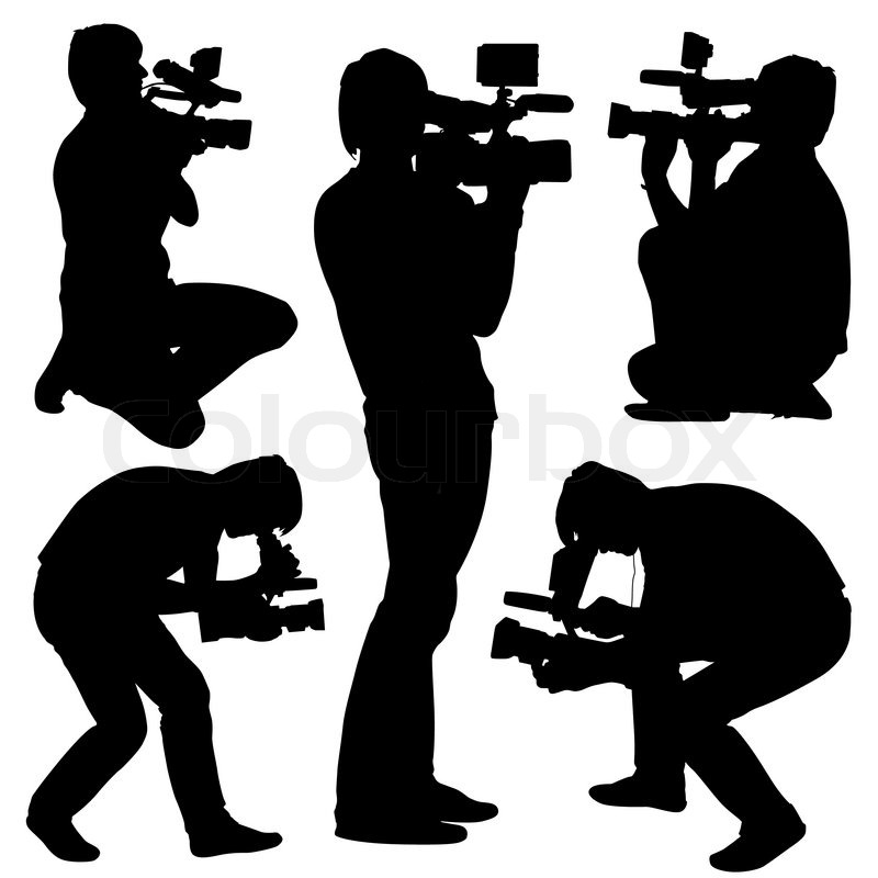 Cameraman with video camera silhouettes on white - Clipart cinema gratuit ...