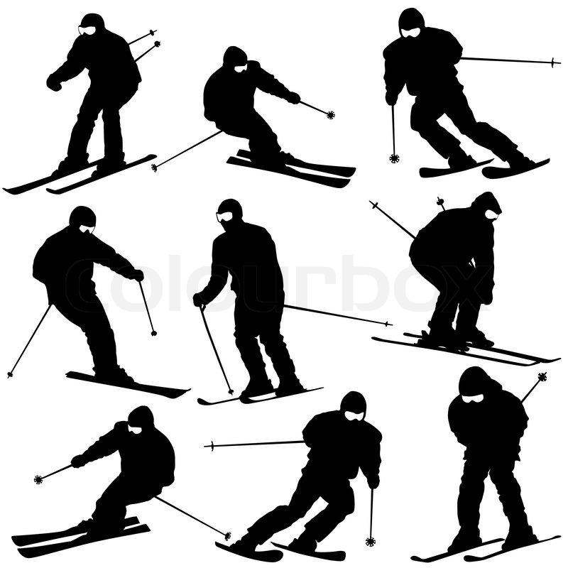 Mountain Skier Man Speeding Down Slope Vector Sport Silhouette