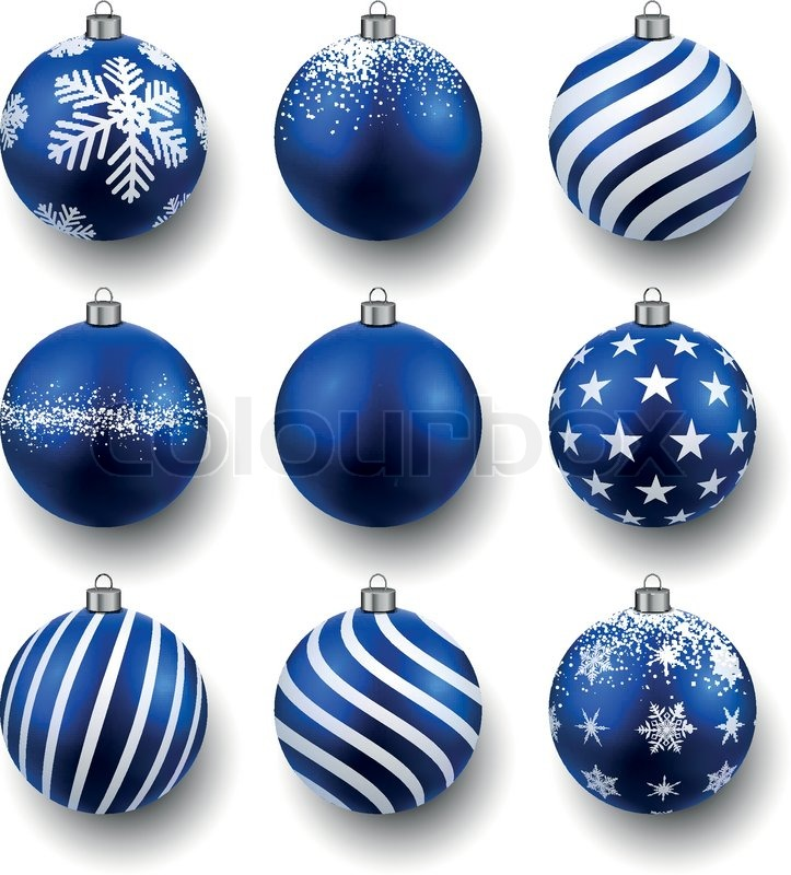 blue christmas balls on white surface set of isolated realistic decorations vector illustration stock vector colourbox