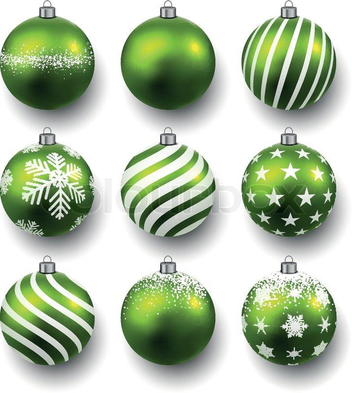 Set realistische gr ne weihnachtskugeln vektorgrafik colourbox - Besondere weihnachtskugeln ...