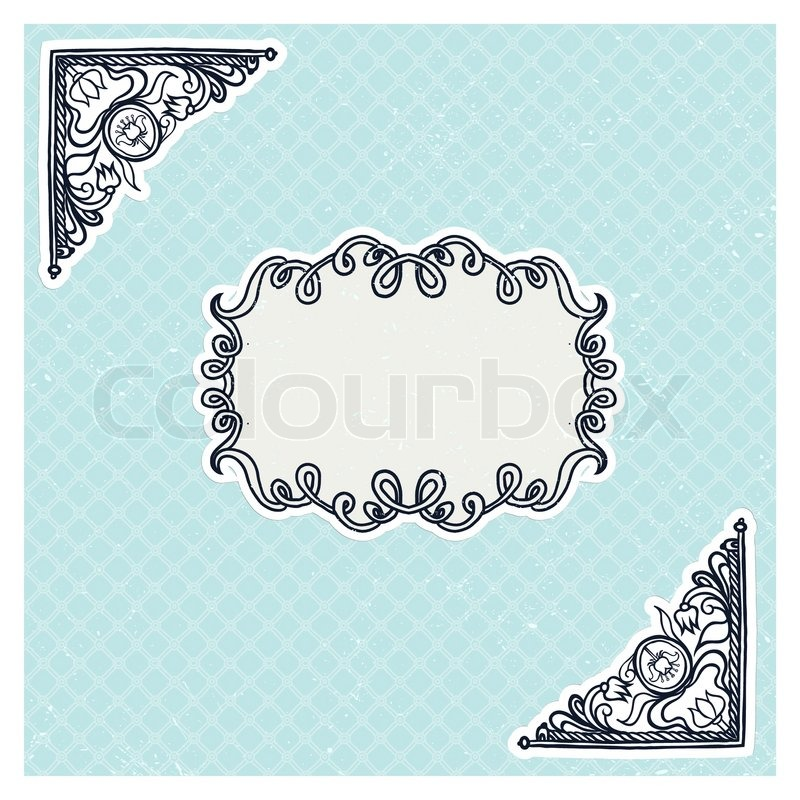 Hand Drawn Vector Illustration Of Frame Template For Wedding Invitation