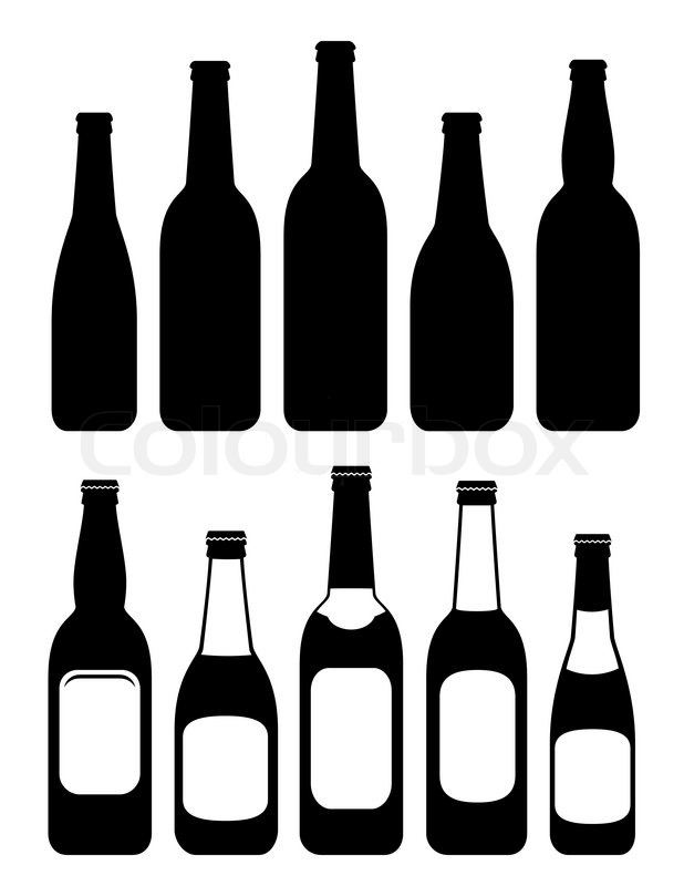 set of isolated beer bottles stock vector colourbox rh colourbox com vector beer bottle free free vector beer bottle silhouette