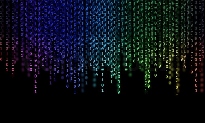 Abstract Rainbow Binary Code on black background | Stock
