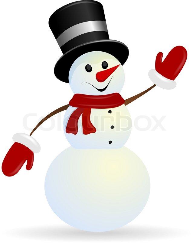 Jolly Weihnachtsschneemann auf einem weißen Hintergrund ...