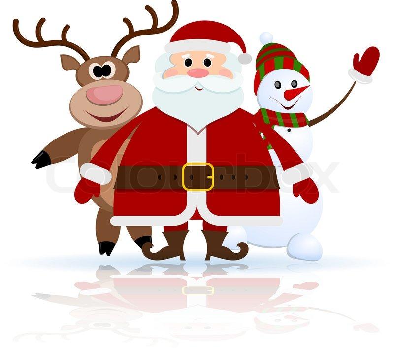 santa claus reindeer and snowman on ice vector - Snowman Santa