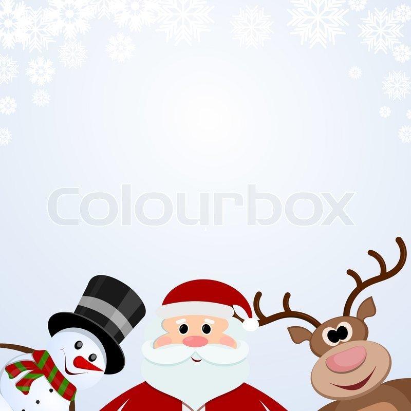 santa claus snowman and reindeer on a snowy background vector - Snowman Santa