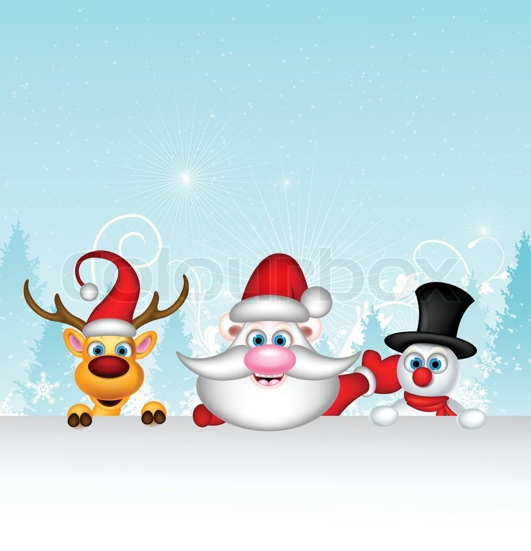 stock vector of vector illustration of santa claus with reindeer and snowman in winter landscape - Santa And Snowman