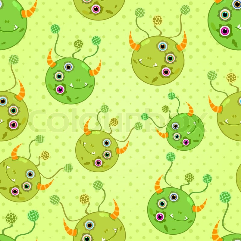 Stock image of 'Green Monster Heads Seamless Background'