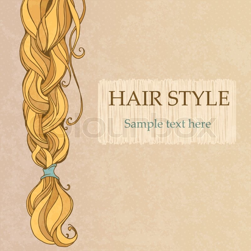 Braided brunette hair vintage style poster Vector Colourbox