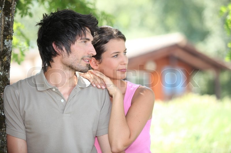 Couple in holiday home, stock photo