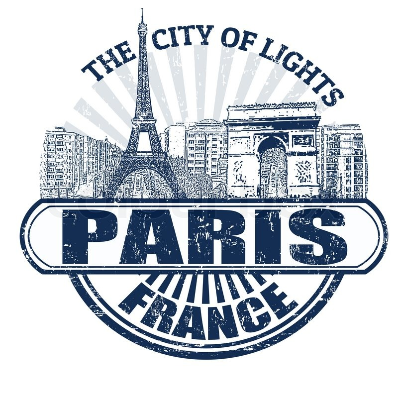 Paris The City Of Light: Grunge Rubber Stamp With The Name Of Paris The City Of