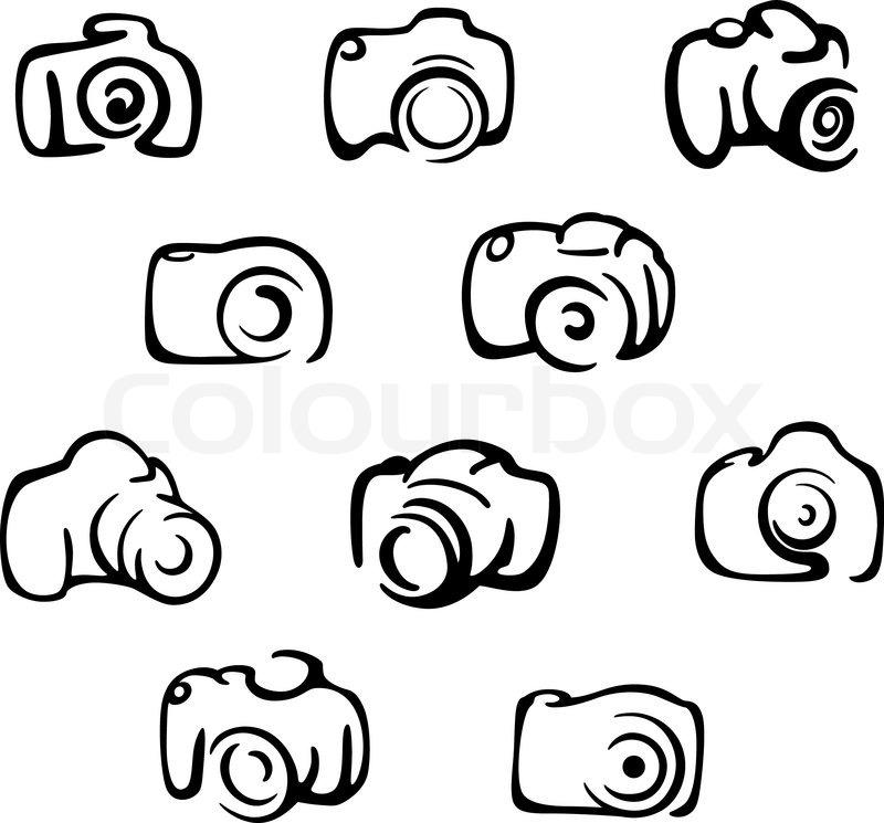 Camera Icons And Symbols Set Isolated On White Background Stock