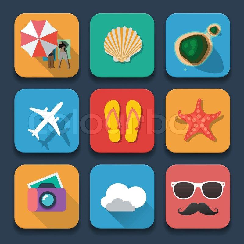 Sommer reisen wohnung design ikonen eingestellt for Wohnung design app